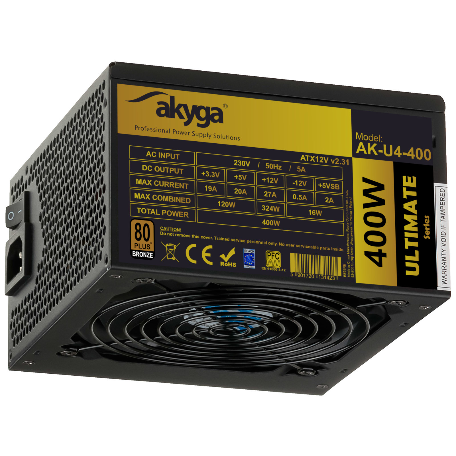 Main image Power Supply ATX AK-U4-400 400W 80+ Bronze