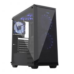 Midi Tower ATX Case AKY015BK Plexi Window + 5 FAN + PSU 500W